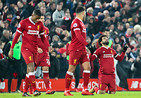 Liverpool's Mohamed Salah celebrates scoring his side's fourth goal <br /> <br /> Photographer Alex Dodd/CameraSport<br /> <br /> The Premier League - Liverpool v Manchester City - Sunday 14th January 2018 - Anfield - Liverpool<br /> <br /> World Copyright &copy; 2018 CameraSport. All rights reserved. 43 Linden Ave. Countesthorpe. Leicester. England. LE8 5PG - Tel: +44 (0) 116 277 4147 - admin@camerasport.com - www.camerasport.com