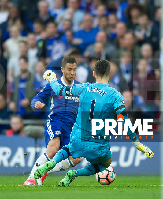 Chelsea's Eden Hazard  during the FA Cup Semi Final match between Chelsea and Tottenham Hotspur at Wembley Stadium, London, England on 22 April 2017. Photo by Andrew Aleksiejczuk / PRiME Media Images.