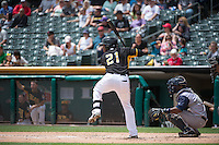 Alfredo Marte (21) of the Salt Lake Bees at bat against the Colorado Springs Sky Sox in Pacific Coast League action at Smith's Ballpark on May 24, 2015 in Salt Lake City, Utah.  (Stephen Smith/Four Seam Images)