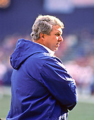 New York Giants head coach Bill Parcells watches the action from the sidelines during the game against the Washington Redskins at RFK Stadium in Washington, DC on Sunday, December 7, 1986.<br /> Credit: Arnie Sachs / CNP