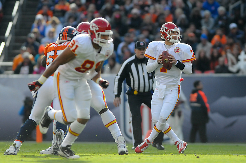 14 NOVEMBER 2010:  Kansas City Chiefs quarterback Matt Cassel  during a regular season National Football League game between the Kansas City Chiefs and the Denver Broncos at Invesco Field at Mile High in Denver, Colorado. The Broncos beat the Chiefs 49-29.