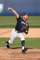 Brett Conine #18 of the Cal State Fullerton Titans pitches against the Stanford Cardinal at Goodwin Field on February 19, 2017 in Fullerton, California. Stanford defeated Cal State Fullerton, 8-7. (Larry Goren/Four Seam Images)
