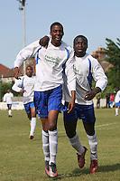 Stratford Juniors score their second goal and celebrate - Inter Moore (blue/black) vs Stratford Juniors (white) - East London Sunday League Jubilee Cup Final at Wadham Lodge - 01/05/11 - MANDATORY CREDIT: Gavin Ellis/TGSPHOTO - Self billing applies where appropriate - Tel: 0845 094 6026