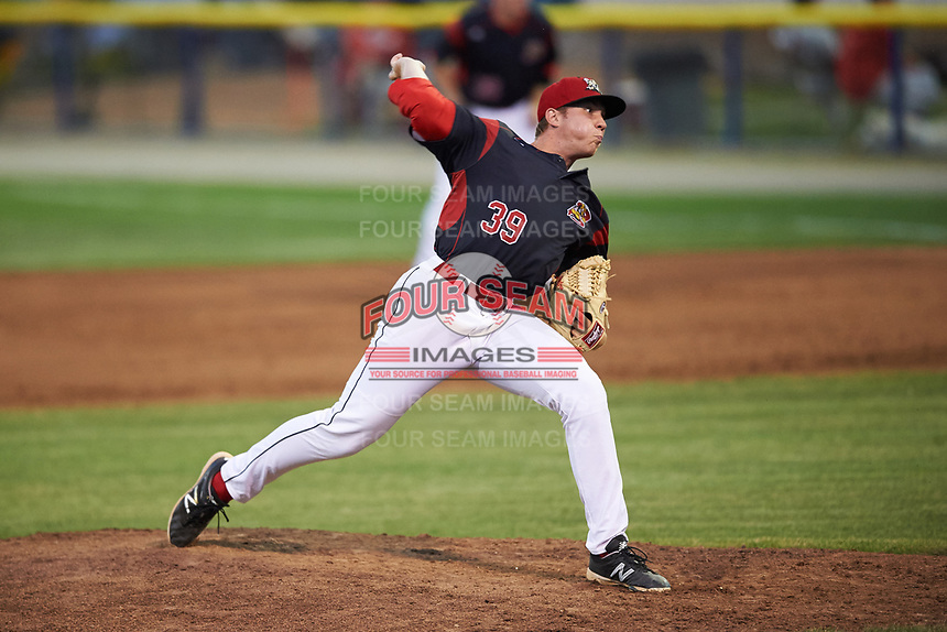 Batavia Muckdogs relief pitcher Henry McAree (39) delivers a pitch during a game against the Auburn Doubledays on July 6, 2017 at Dwyer Stadium in Batavia, New York.  Auburn defeated Batavia 4-3.  (Mike Janes/Four Seam Images)