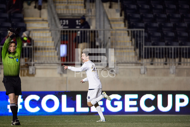 Notre Dame Fighting Irish midfielder Patrick Hodan (27) celebrates scoring. The Notre Dame Fighting Irish defeated the New Mexico Lobos 2-0 during the semifinals of the 2013 NCAA division 1 men's soccer College Cup at PPL Park in Chester, PA, on December 13, 2013.