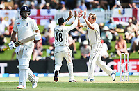 21st November 2019; Mt Maunganui, New Zealand;  Tom Latham and Neil Wagner celebrate the wicket of Root on international test match cricket, Day 1, New Zealand versus England at Bay Oval, Mt Maunganui, New Zealand.
