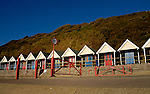 Changing huts for bathers on the beach.Bournemouth, Dorset, England,UK