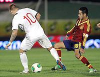Spain's Thiago and Norway's Pedersen during an International sub21 match. March 21, 2013.(ALTERPHOTOS/Alconada) /NortePhoto