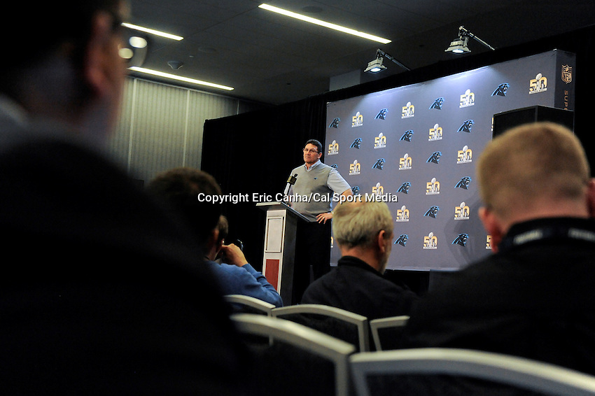 Tuesday, February 2, 2016: Carolina Panthers head coach Ron Rivera talks to the media at the San Jose Convention Center  during a press conference for the National Football League Super Bowl 50 between the Denver Broncos and the Carolina Panthers. Eric Canha/CSM