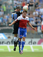 3. Fussball Bundesliga:  2. Spieltag    Saison   2012/2013   SpVgg Unterhaching  - FC Hansa Rostock   28.07.2012 Julien Humbert (li, FC Hansa Rostock) gegen Maximilian Welzmueller (Unterhaching)