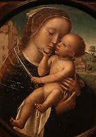 Virgin and Child, detail, tondo painting, 1505-10, by Adriaen Isenbrant, 1490-1551, painted for Bishop Jorge de Almeida and his Paso Episcopal de Coimbra, now the Museu Nacional de Machado de Castro, Coimbra, Portugal. The museum was opened in 1913 and renovated 2004-2012. The city of Coimbra dates back to Roman times and was the capital of Portugal from 1131 to 1255. Its historic buildings are listed as a UNESCO World Heritage Site. Picture by Manuel Cohen
