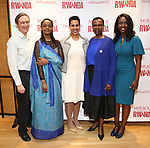 """George Drance, Malaika Uwamahoro, Leslie Malaika Lewis, Valentine Rugwabiza, Rwanda Ambassador to the UN and Immaculee ILibagiza during a reception for  """"Miracle in Rwanda"""" honoring International Day of Reflection on the 1994 Genocide against the Tutsi in Rwanda at the Lion Theatre on Theater Row on April 7, 2019 in New York City."""
