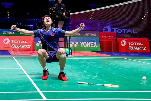 18th March 2018, Arena Birmingham, Birmingham, England; Yonex All England Open Badminton Championships; Shi Yuqi (CHN) icelebrates the winning point to win the mens singles  final against Lin Dan (CHN)