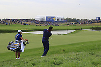 Rory McIlroy Team Europe plays his 3rd shot from the deep rough on the 9th hole during Friday's Fourball Matches at the 2018 Ryder Cup, Le Golf National, Iles-de-France, France. 28/09/2018.<br /> Picture Eoin Clarke / Golffile.ie<br /> <br /> All photo usage must carry mandatory copyright credit (© Golffile | Eoin Clarke)