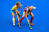 2nd February 2020; Sydney Olympic Park, Sydney, New South Wales, Australia; Womens International FIH Field Hockey, Australia versus Great Britain Women; Leah Wilkinson of Great Britain shields the ball from Ambrosia Malone of Australia