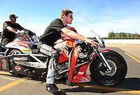 Nov 14, 2010; Pomona, CA, USA; NHRA pro stock driver Andrew Hines during the Auto Club Finals at Auto Club Raceway at Pomona. Mandatory Credit: Mark J. Rebilas-