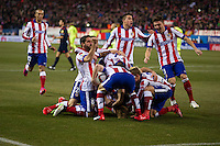 Atletico de Madrid´s Fernando Torres, Antoine Griezmann, Joao Miranda, Raul Garcia, Juanfran and Arda Turan during 2014-15 Spanish King Cup match between Atletico de Madrid and Barcelona at Vicente Calderon stadium in Madrid, Spain. January 28, 2015. (ALTERPHOTOS/Luis Fernandez) /nortephoto.com<br />