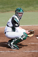 February 21, 2010:  Catcher Nick Rickles (9) of the Stetson Hatters during the teams opening series at Melching Field at Conrad Park in DeLand, FL.  Photo By Mike Janes/Four Seam Images