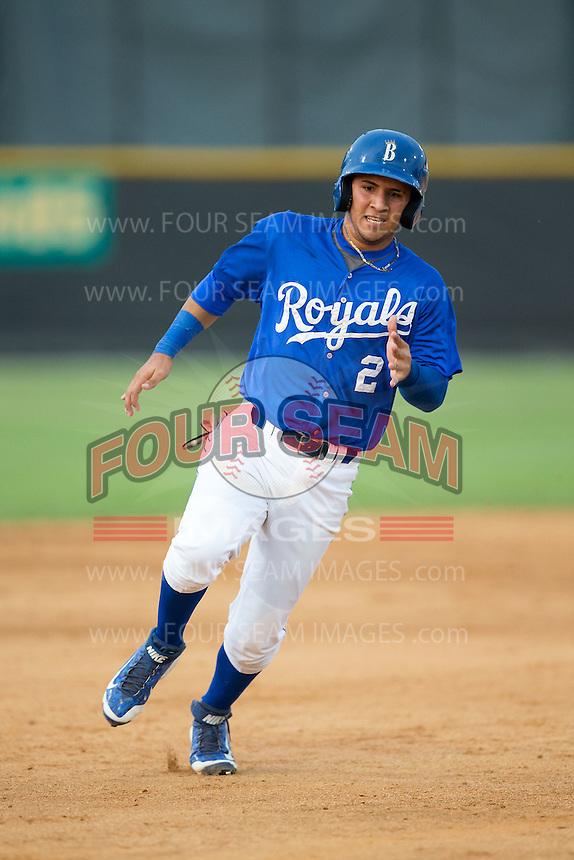 Jose Martinez (2) of the Burlington Royals hustles towards third base against the Danville Braves at Burlington Athletic Park on July 12, 2015 in Burlington, North Carolina.  The Royals defeated the Braves 9-3. (Brian Westerholt/Four Seam Images)