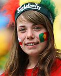 13.06.2012, LWOW, PILKA NOZNA, FOOTBALL, MISTRZOSTWA EUROPY W PILCE NOZNEJ, EURO 2012, FOOTBALL EUROPEAN CHAMPIONSHIP, DANIA - PORTUGALIA, DENMARK - PORTUGAL, POLSKA FANKA PORTUGALII, FOT. TOMASZ JASTRZEBOWSKI / FOTO OLIMPIK/NEWSPIX.PL.---.Newspix.pl