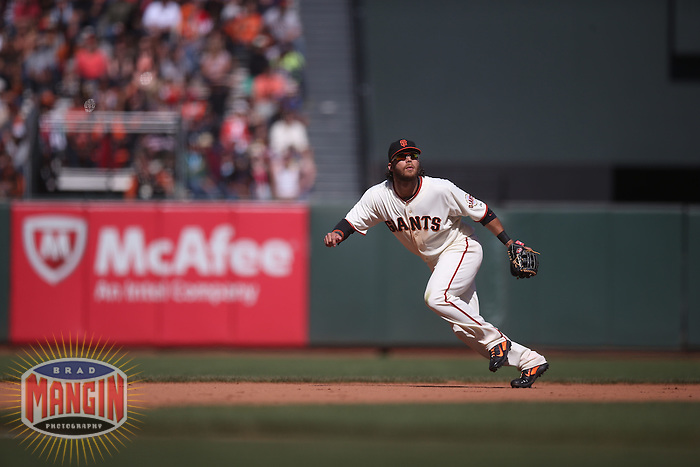 SAN FRANCISCO, CA - MAY 18:  Brandon Crawford #35 of the San Francisco Giants plays defense at shortstop against the Miami Marlins during the game at AT&T Park on Sunday, May 18, 2014 in San Francisco, California. Photo by Brad Mangin