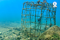 France, Marseille, Mediterranean Sea, old fishing cage underwater (Licence this image exclusively with Getty: http://www.gettyimages.com/detail/sb10065474dk-001 )