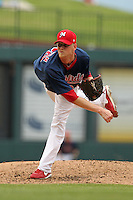 Memphis Redbirds pitcher Brandon Dickson #29 delivers a pitch during a game versus the Round Rock Express at Autozone Park on April 30, 2011 in Memphis, Tennessee.  Memphis defeated Round Rock by the score of 10-7.  Photo By Mike Janes/Four Seam Images