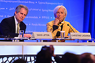 Washington, DC - April 19, 2018: IMF Managing Director Christine Lagarde and David Lipton listen to a question from the media during a press briefing during the Spring Meetings of the International Monetary Fund/World Bank Group in Washington, DC April 19, 2018.  (Photo by Don Baxter/Media Images International)