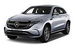 2019 Mercedes Benz EQC AMG-Line 5 Door SUV angular front stock photos of front three quarter view