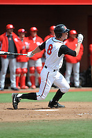 Rutgers University Scarlet Knights infielder Christian Campbell (8) during game game 1 of a double header against the University of Houston Cougers at Bainton Field on April 5, 2014 in Piscataway, New Jersey. Rutgers defeated Houston 7-3.      <br />  (Tomasso DeRosa/ Four Seam Images)