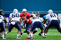 August 7, 2017: New England Patriots quarterback Tom Brady (12) drills during a joint practice at New England Patriots training camp where they hosted the Jacksonville Jaguars on the practice fields at Gillette Stadium, in Foxborough, Massachusetts. Eric Canha/CSM