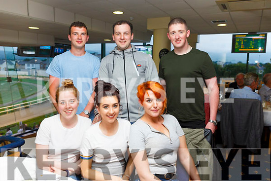 Having a meal in the Kingdom Greyhound Track on Friday night. Seated l-r, Karen Sheehan, Eimear Kimple and Nicola Keane.<br /> Back l-r, Seamus and Dean Bastible and Mickey Kennedy.