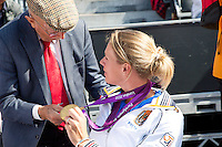 15-09-12, Netherlands, Amsterdam, Tennis, Daviscup Netherlands-Suisse, Opa Scheer looking at the gold medals of Esther Vergeer