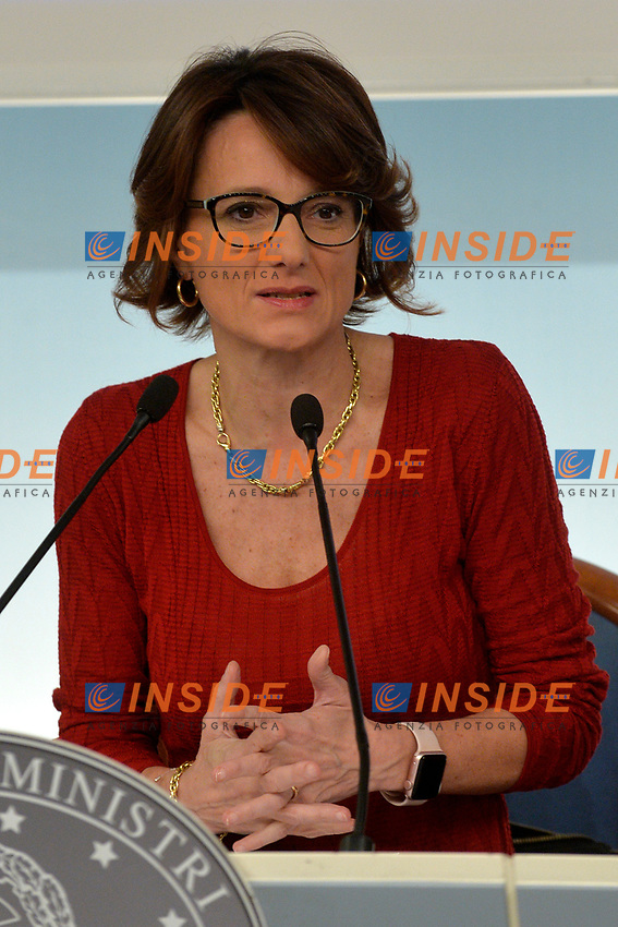 Minister for equal opportunities Elena Bonetti<br /> Rome November 21st 2019. Palazzo Chigi. Press conference for International Day for the Elimination of Violence against Women<br /> Foto  Samantha Zucchi Insidefoto