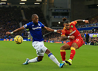23rd  November 2019; Goodison Park , Liverpool, Merseyside, England; English Premier League Football, Everton versus Norwich City; Onel Hernandez of Norwich City crosses the ball as Djibril Sidibe of Everton attempts to block - Strictly Editorial Use Only. No use with unauthorized audio, video, data, fixture lists, club/league logos or 'live' services. Online in-match use limited to 120 images, no video emulation. No use in betting, games or single club/league/player publications