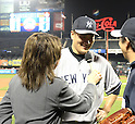 Masahiro Tanaka (Yankees),<br /> MAY 14, 2014 - MLB :<br /> Pitcher Masahiro Tanaka of the New York Yankees is interviewed as he celebrates his sixth win with his first shutout in the MLB after the Major League Baseball game against the New York Mets at Citi Field in Flushing, New York, United States. (Photo by AFLO)