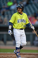 Designated hitter Jay Jabs (21) of the Columbia Fireflies smiles as he heads back to the dugout with all that remains of his bat following a plate appearance in a game against the Augusta GreenJackets on Friday, April 6, 2018, at Spirit Communications Park in Columbia, South Carolina. Columbia won, 7-2. (Tom Priddy/Four Seam Images)