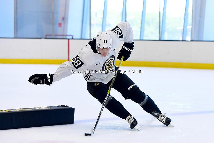 June 26, 2018: Boston Bruins forward Jack Studnicka (68) skates during the Boston Bruins development camp held at Warrior Ice Arena in Brighton Mass. Eric Canha/CSM