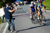Picture by Alex Whitehead/SWpix.com - 28/09/2018 - Cycling - UCI 2018 Road World Championships - Innsbruck-Tirol, Austria - U23 Men's Road Race - Bjorg Lambrecht of Belgium, Marc Hieschi of Switzerland and Jaakko Hanninen of Finland.