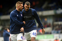 Ipswich Town's Luke Chambers and Collin Quaner during the pre-match warm-up <br /> <br /> Photographer Hannah Fountain/CameraSport<br /> <br /> The EFL Sky Bet Championship - Ipswich Town v Nottingham Forest - Saturday 16th March 2019 - Portman Road - Ipswich<br /> <br /> World Copyright &copy; 2019 CameraSport. All rights reserved. 43 Linden Ave. Countesthorpe. Leicester. England. LE8 5PG - Tel: +44 (0) 116 277 4147 - admin@camerasport.com - www.camerasport.com