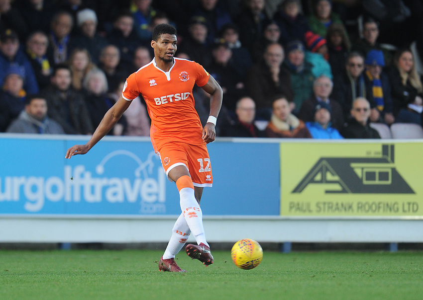 Blackpool's Michael Nottingham<br /> <br /> Photographer Kevin Barnes/CameraSport<br /> <br /> The EFL Sky Bet League One - AFC Wimbledon v Blackpool - Saturday 29th December 2018 - Kingsmeadow Stadium - London<br /> <br /> World Copyright © 2018 CameraSport. All rights reserved. 43 Linden Ave. Countesthorpe. Leicester. England. LE8 5PG - Tel: +44 (0) 116 277 4147 - admin@camerasport.com - www.camerasport.com