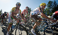 Simon Gerrans (AUS/Orica-GreenEDGE) in the first grupetto up the final climb to Chamrousse (1730m/18.2km/7.3%)<br /> <br /> 2014 Tour de France<br /> stage 13: Saint-Etiènne - Chamrousse (197km)
