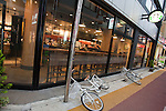 Mar. 11, 2011 - Tokyo, Japan - Bicycles are shown fallen over in front of Starbucks Cofee  after a powerful 8.9-magnitude quake hits north-eastern Japan, tsunami feared.