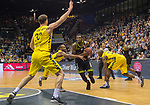 "13.04.2019, EWE Arena, Oldenburg, GER, easy Credit-BBL, EWE Baskets Oldenburg vs medi Bayreuth, im Bild<br /> Philipp SCHWETHELM (EWE Baskets Olldenburg #33 ) William""Will"" CUMMINGS (EWE Baskets Oldenburg #3 ) Rickey PAULDING (EWE Baskets Oldenburg #23 ) De`Mon BROOKS (medi Bayreuth #24 )<br /> <br /> Foto © nordphoto / Rojahn"