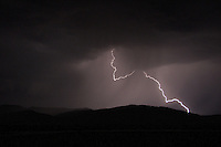 Lightening flashes across the Centenial Mountains, Idaho.  August 2012.