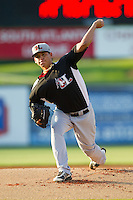 Hickory Crawdads starting pitcher Frank Lopez (18) in action against the Kannapolis Intimidators at CMC-Northeast Stadium on July 26, 2013 in Kannapolis, North Carolina.  The Intimidators defeated the Crawdads 2-1.  (Brian Westerholt/Four Seam Images)