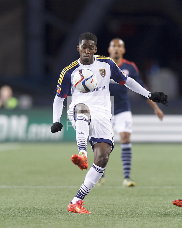 Foxborough, Massachusetts - April 25, 2015: In a Major League Soccer (MLS) match, the New England Revolution (blue/white) defeated Real Salt Lake (white), 4-0, at Gillette Stadium.