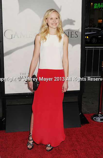 "HOLLYWOOD, CA - MARCH 18: Alison Pill arrives at the Los Angeles premiere of HBO's ""Game Of Thrones"" Season 3 at TCL Chinese Theater on March 18, 2013 in Hollywood, California."