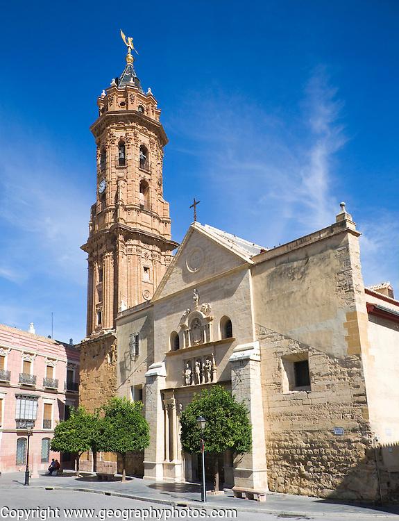 Historic buildings church and plaza San Sebastian, centre of Antequera, Malaga province, Spain