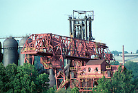Pittsburgh: Zoom shot of same Mill. This is the carrie furnaces where iron was made to feed the steel plants across the river spanning the Mon--the old hot metal bridge.  Photo 2001.
